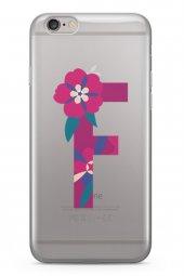 Apple İphone 6 6S Kılıf Silikon Arka Kapak Koruyucu F Harfi Çiçek-2