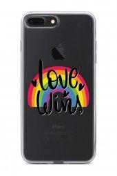 Apple İphone 7 Plus Kılıf Silikon Arka Kapak Koruyucu Love Wins L