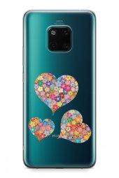 Huawei Mate 20 Pro Kılıf Silikon Arka Kapak Koruyucu Çiçekli Kalp-2