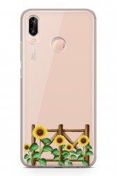 Huawei P20 Lite Kılıf Silikon Arka Kapak Koruyucu Ayçiçeği Desenl