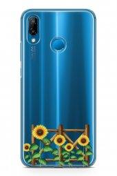 Huawei P20 Lite Kılıf Silikon Arka Kapak Koruyucu Ayçiçeği Desenl-2
