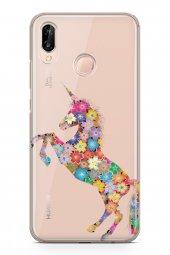 Huawei P20 Lite Kılıf Silikon Arka Kapak Koruyucu Unicorn Desenli