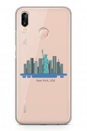 Huawei P20 Lite Kılıf Silikon Arka Kapak Koruyucu New York Abd De