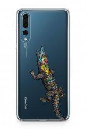 Huawei P20 Pro Kılıf Silikon Arka Kapak Koruyucu Rengarenk Timsah