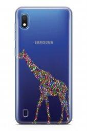 Samsung Galaxy A10 Kılıf Silikon Arka Kapak Koruyucu Zürafa Desen