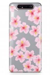 Samsung Galaxy A80 Kılıf Silikon Arka Kapak Koruyucu Pembe Sakura