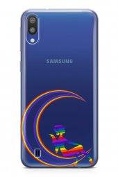 Samsung Galaxy M10 Kılıf Silikon Arka Kapak Koruyucu Moon Pride D