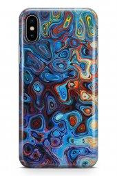 Apple İphone Xs Kılıf Silikon Arka Kapak Koruyucu Modern Mavi Des