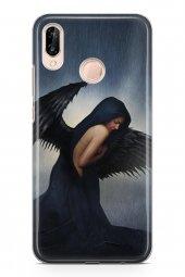 Huawei P20 Lite Kılıf Silikon Arka Kapak Koruyucu Black Angel Des