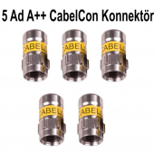 5 Ad. Cabelcon Kendinden Sıkmalı F Konnektör