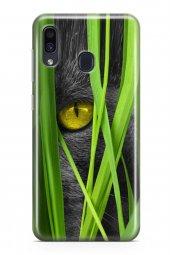 Samsung Galaxy A40 Kılıf Silikon Arka Kapak Koruyucu Kedi Gözü De