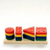 Renkli Bultak Dikdörtgen Ahşap Eğitici Oyuncak