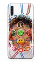 Samsung Galaxy A70 Kılıf Silikon Arka Kapak Koruyucu Sosyal Tüken