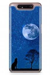 Samsung Galaxy A80 Kılıf Silikon Arka Kapak Koruyucu Gece Ve Kurt