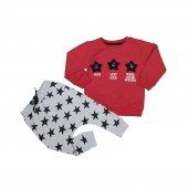 Kız Erkek Bebek Yıldız Modelli Eşofman Takımı 1 4 Yaş Kırmızı C74123