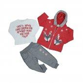 Kız Bebek Ceylan Modelli Kapşonlu Üçlü Takım 1 4 Yaş Kırmızı C74099