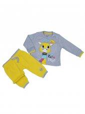 Kız Bebek Giyim Zürafa Modelli İkili Takım 9 24 Ay Gri C73732 2