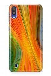 Samsung Galaxy M10 Kılıf Silikon Arka Kapak Koruyucu Sarı Kırmızı