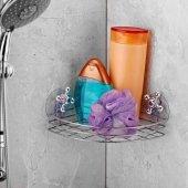 Vantuzlu Köşe Banyo Rafı