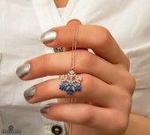 Zirkon Taşlı Renk Geçişli Mavi Beyaz Kartanesi 925 Ayar Gümüş Kolye [ His Taşı , Yıldız ]-2