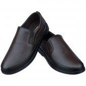 Kahverengi Baskılı Deri Ortopedik Diyabetik Klasik Erkek Ayakkab