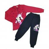 Kız Çocuk Pijama Takımı 4 7 Yaş Kırmızı C74147 3