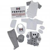 Erkek Bebek Perfect Yazılı Hastane Çıkış Seti Lacivert C65117