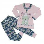Kız Çocuk Ayıcıklı Pijama Takımı 4 7 Yaş Pembe C74145 1