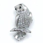 Ithal Üst Kalite Baykuş Gümüş Broş