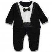 Papyonlu Smokin Ceketli Siyah Erkek Bebek Tulum
