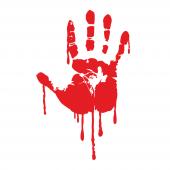 Kanlı El İzi Oto Sticker 12x9cm