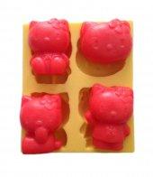 4 Lü Hello Kitty Şeklinde Silikon Pasta ve Seker Hamuru Kalibi 4,5x3,5x2 cm