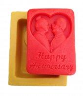 Happy Anniversary Yazılı Yaşlı Çift Resimli Silikon Pasta Ve Seker Hamuru Kalibi 8x6x3 Cm