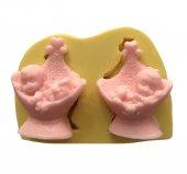 2 Li Beşikte Uyuyan Bebek Şeklinde Silikon Pasta ve Seker Hamuru Kalibi 3x5x2 cm