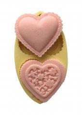 çiçekli Kalp Şeklinde Silikon Pasta Ve Seker Hamuru Kalibi 9,5x5x1,5 Cm
