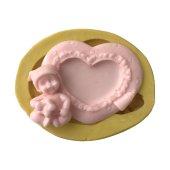 Bebek Figürlü Kalp Çerçeve Şeklinde Silikon Pasta Ve Seker Hamuru Kalibi 8x6x2 Cm