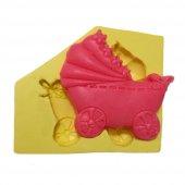 Bebek Arabası Şeklinde Silikon Pasta Ve Seker Hamuru Kalibi 5x5x1 Cm