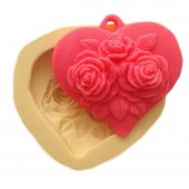 Gül Desenli Kalp Şeklinde Silikon Pasta ve Seker Hamuru Kalibi