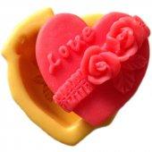 Kalp İçinde Gül Ve Love Yazılı Silikon Pasta Ve Seker Hamuru Kalibi