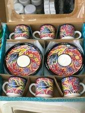 El Yapımı Kütahya Çinisi 6 Lı Kahve Fincan Takımı