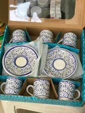 Kütahya Çinisi El Yapımı 6 Lı Kahve Fincan Set