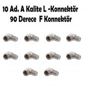 10 Ad. F Konnektör L Fiş 90 Derece Çevirici