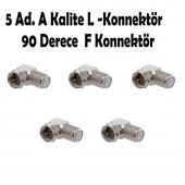 5 Ad. F Konnektör L Fiş 90 Derece Çevirici