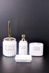 Bayev 4 Prç. Renkli Lüks Banyo Seti - 500326 - Beyaz