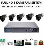 5mp Full Hd Gece Görüşlü Hdd Dahil Güvenlik Kamera Sistemi 5 Lı