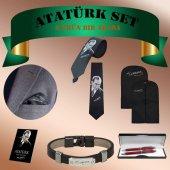 Atatürk İmza Set 6 Parça Yaka Mendili Kravat Elbise Kılıfı