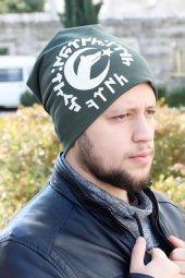 Göktürkçe Türk Yazılı Ve Bozkurtlu Yeşil Renk Erkek Bere