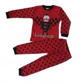 Süpermini Uğurböceği Figürlü Kız Çocuk Pijama Takımı