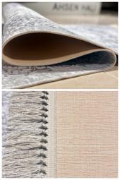 Ahsen Halı PVC Deri Taban Kaydırmaz Krem Beyaz Kupa Desenli Halı -2