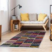 Ahsen Halı Pvc Deri Taban Kaydırmaz Patch Work Desen Renkli Halı